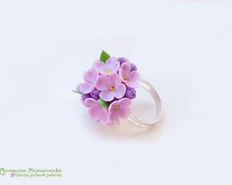 Ring Lilac Syringa - Polymer Clay Flowers