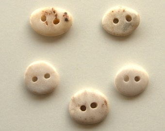 5 Medium Beach Stone Buttons,Natural Organic Supplies,Sewing Finding Buttons,Beach Pebble Buttons,Drilled Stones,Knitting Supplies,RTS