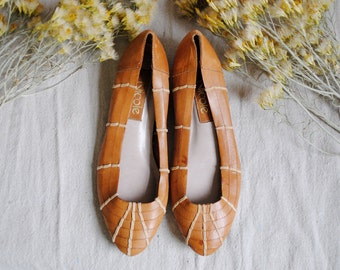 Woven Flats || Minimal Tan Leather and Twine Slip On Slides || size 6 size 6.5