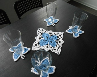 Coaster and Doily Set - Blue and White Cotton Polyester