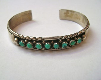 vintage sterling and turquoise cuff, signed MJ