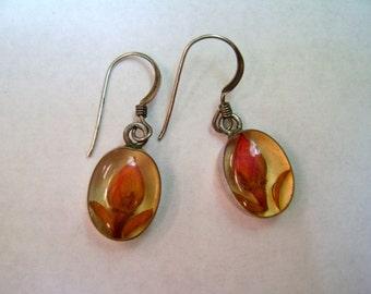 vintage rosebud resin earrings in sterling