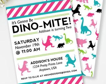 Dinosaur Invitation, Dinomite Birthday, Girl Dinosaur Birthday, Dino Invite, Dino Party Invite, Girl's Birthday, Printable Invite, #40