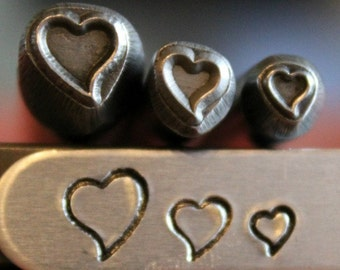 Slanted Heart Design 3 Metal Stamp Combination Set - Three Different Sizes (3mm, 5mm and 7mm) of the Slanted Heart Stamp - SG-375-47WM-1NJ-9