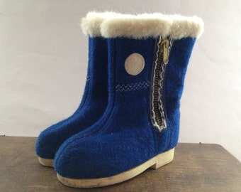 Soviet vintage kids boots Blue winter boots Children boots toddler winter boots Blue white Wool boots USSR era kids boots