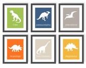 Dinosaur Art Prints, Boys Dinosaur Room, Dinosaur Wall Art, Triceratops, Trex, Stegosaurus, Science Nursery, Paleontologist, Toddler Art