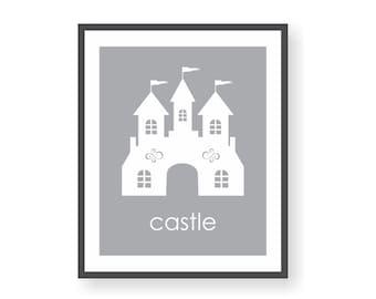 Princess Castle Art, Fairytale Nursery, Little Girl Art, Princess Nursery, Enchanted Castle Wall Art, Fairy Tale Print, Girls Room Decor,