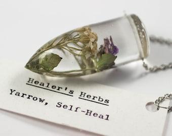 Healers Herbs - Botanical Jewelry, Real Yarrow Resin, Prunella vulgaris, Healing Herbs, Herb Witch, Herbalism Necklace, Mori Kei Necklace