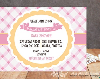 Pink and Marigold Yellow Gingham Baby Shower Printable Invitations - Spring Baby Shower Invitations - Girly Baby Shower Invitations
