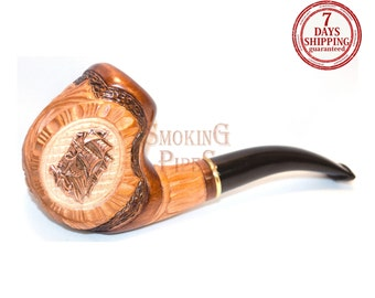"Tobacco Smoking Pipe ""VIKINGS"". Smoking Pipe. Woodcarved smoking pipe. Handmade, Handcarved, Tobacco pipes"