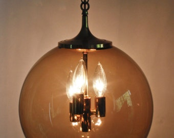 "Mid Century Globe Swag Lamp Light Smokey Lightcraft Laurel Swoop Fixture 12"""