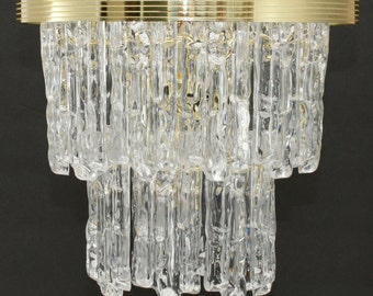 Vintage Icicle Lucite Chandelier Hollywood Regency 2 Tiered Ice Swag Acrylic