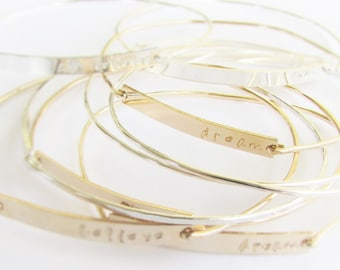 Personalized Gold Bracelet for Women - Hand Stamped Bracelets - Custom Gold Bracelets - Gold Bangle Bracelets - Bridesmaid Gifts
