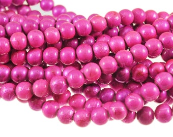 Bright Hot Pink & Purple Glass 10mm Rounds with Speckling Texture - Full 16 inch Strand - Opaque Finish