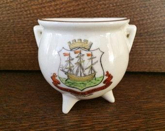 ANTIQUE MINIATURE CRESTED Ware Pottery Cauldron Pot - Keltic Pottery Mark - Burntisland Scotland - Ship Crown Sea Nautical
