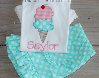 Personalized Ice Cream Applique Ruffle Shirt and Bottoms, Ice Cream Tshirt, Birthday Party Shirt, Ice Cream Applique Shirt & Matching Bottom