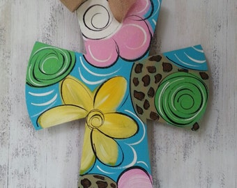 Wood Cross, Whimsical Flowers and Leopard, Door Decor, Wall Decor, Sign, Wreath...READY TO SHIP!!
