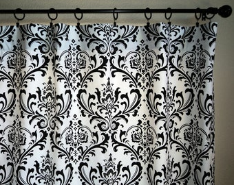 Curtains Ideas black and white damask curtains : Damask curtains | Etsy