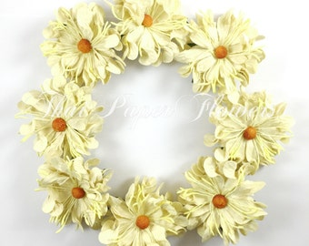10 Yellow Cream  Large Culry Wild Daisy Mulberry Paper Flowers Scrapbook Craft Wedding Supply Card Making 147/D4