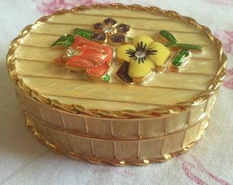 Country victorian french enamel trinket box