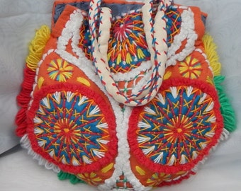 Indigenous Bohemian handmade crocheted purse bag, all fabric & wool, 14x18, Woodstock-style