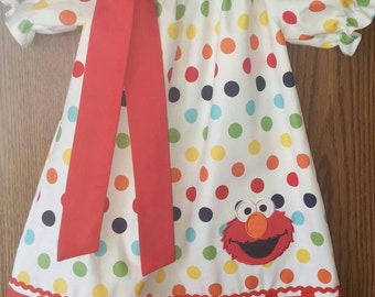 Toddler/ Girls Elmo Peasant Style Dress- Elmo party dress