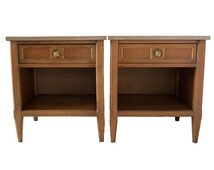 Pair American of Martinsville Nightstands - Single Drawer with Storage Compartment