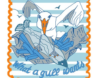 """Fun seagull greeting card with """"What a gull wants"""" design"""