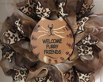 Welcome Furry Friends...Cat Deco Mesh Wreath