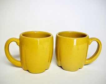 Vintage Frankoma Mugs, Glaze Color Sunflower, Pair Of Pottery Coffee Mugs