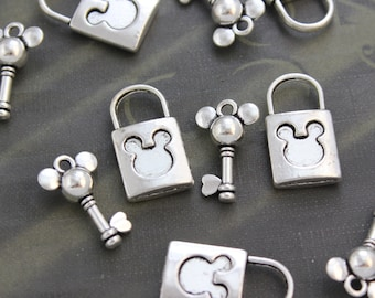 5 Set Antique Silver Mickymouse Lock & Key Charms