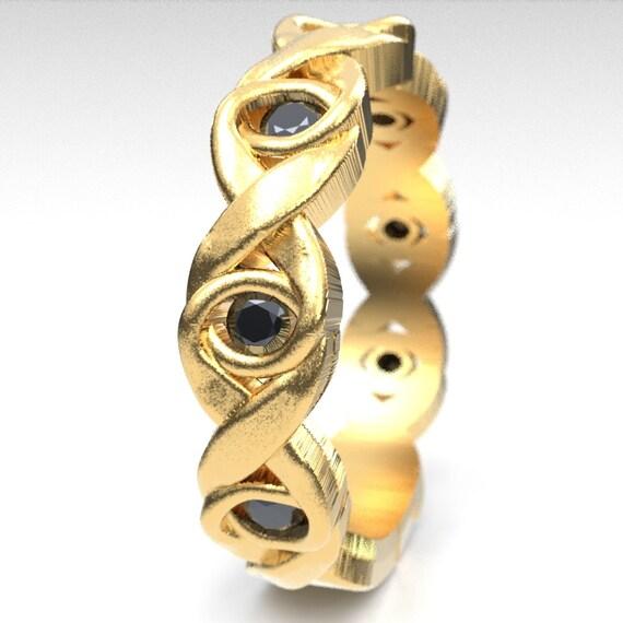 Celtic Black Spinel Wedding Ring With Infinity Knot Design in 10K 14K 18K Gold, Palladium or Platinum, Celtic Knot Ring, Custom Size 1107