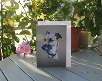 Pokit - Blank greetings card of a Lurcher drawn by Imogen Man