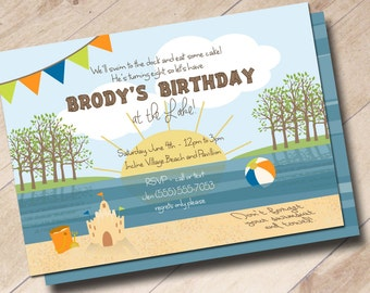 Lake Beach Birthday Party Invitation - Lake Fun in the Sun, Splash and Play, Summer Birthday Party