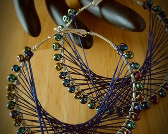 Navy Blue Beaded Peruvian Thread Hoop Earrings