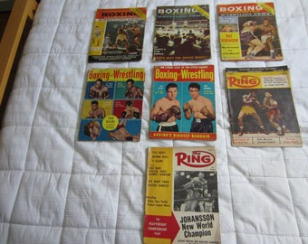Vintage 1950s Boxing and Wrestling Magazines 7 Total The Ring Boxing Illustrated