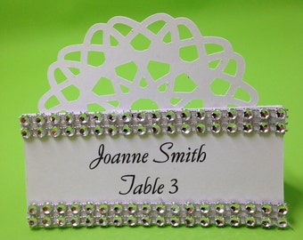 Rhinestone Fan Place Cards