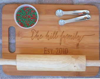 Personalized Cutting Board, Family Christmas Gift, Kitchen Gift, Established Name Sign, Christmas Baking, Hostess Gift, Housewarming Gift
