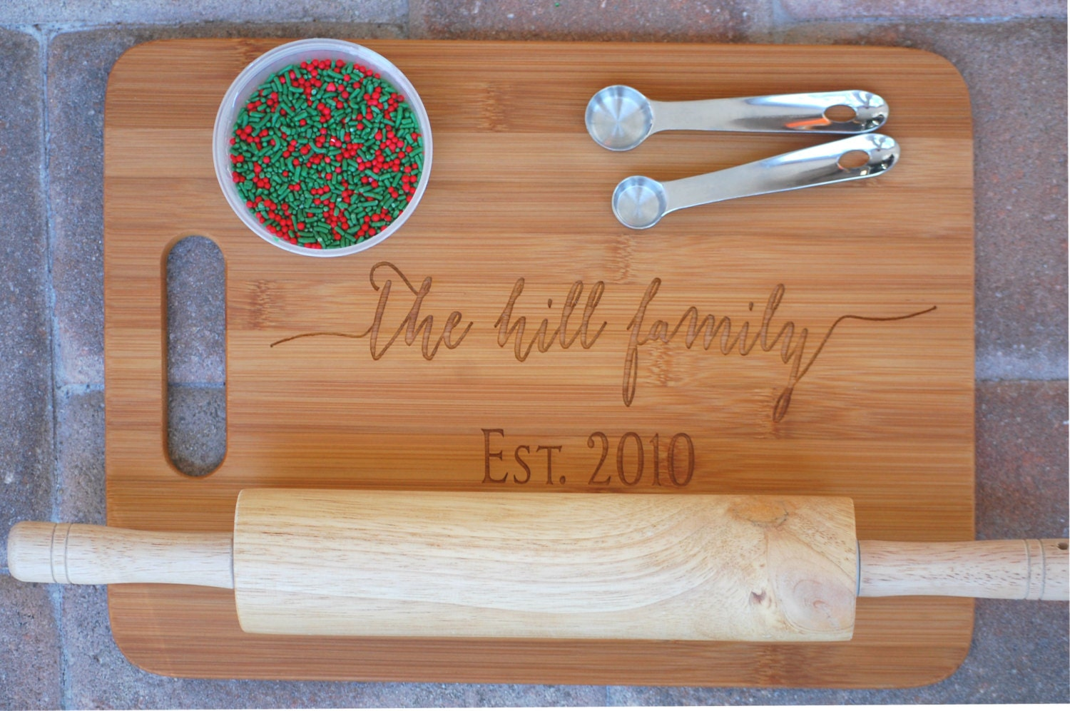 Personalized Cutting Board Family Christmas Gift Kitchen Gift Established Name Sign
