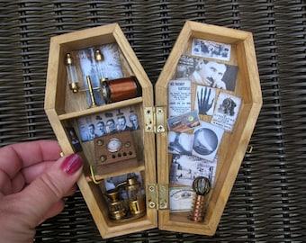 Tesla Miniature Coffin Shadow Box