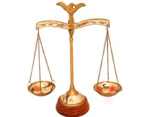 Vintage Pair of Scales, Decorative Brass & Enameled Scale Set, Indian Brass Scales, Brass Scale Of Justice, Disply Balance Scales
