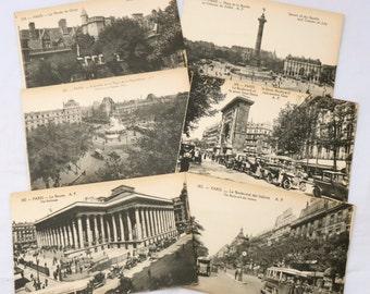 Set of Paris Postcards, Six 1920s Paris Postcards, Unused Postcards, Black and White Postcards, Tourist Postcards, French Souvenir Cards