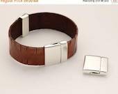 HOT DEAL 20MM Flat Leather Clasp - redesigned - Antique Sliver - Sterling Silver Plated - Strong Magnet - Qty. 1