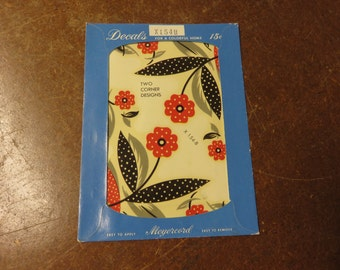Vintage Meyercord Red Floral Flower Decal