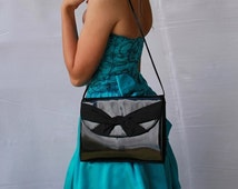 SALE Black Patent Leather Clutch handbag with Crossed Knot Gross Grain Ribbon front Shoulder Strap