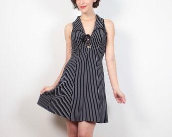 Vintage 1990s Dress Black White Pin Stripe Mini Dress Skater Dress Lace Up Corset Neckline 90s Dress Club Kid Dress Bodycon XS S Small M