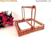 Napkin Holder Rattan Wicker and Wood Dispenser Picnic Accessory Back Yard Entertaining Vintage Kitchen Tableware