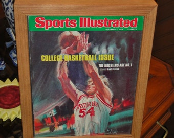 Rare Indiana University 1975 Sports Illustrated framed Deep Profile Frame Solid Cedar Man Cave display