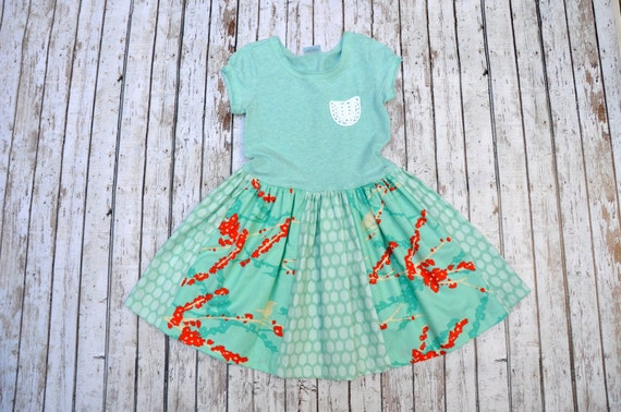 Mint Birds Dress 2/3