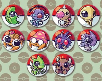 First Generation Bug pokémon 38mm buttons